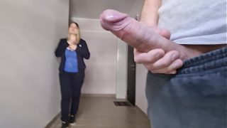 Guy flashes a big cock to stranger busty milf