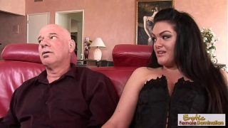 Brunette milf in lingerie fishnets takes the thickest stepfather's cock